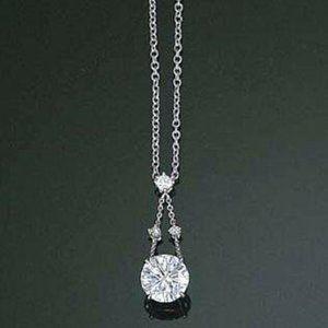 2 carats round diamond white gold necklace pendant